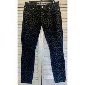 Express Zelda Slim Fit Low Rise Leopard Jeans